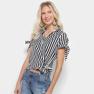 Blusa Listrada Lily Fashion com Laço Feminina 6b090447ae165