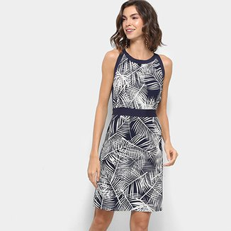 c18f68723 Vestido Lily Fashion Evasê Folhagem Debrum