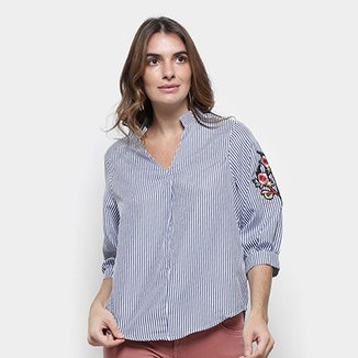 e50fee4c7 Blusa Lily Fashion Listrada Bordada Feminina