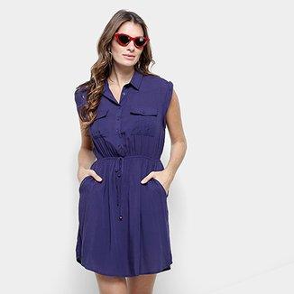 6a21b19e6d Vestido Lily Fashion Curto Chemise Detalhe Amarração Bolso