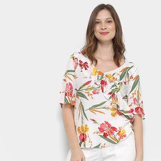 Blusa Forwhy Floral Gola Babado Mangas Amplas 3 4 Feminina 9b3dd9c915d6e