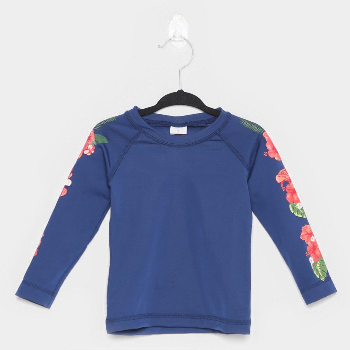 Camiseta Bebê Tip Top Praia Lisa Manga Longa Feminina