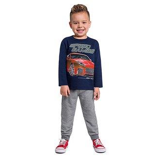 f3ee00153 Conjunto Moletom Infantil Kyly Estampa Carros Masculino