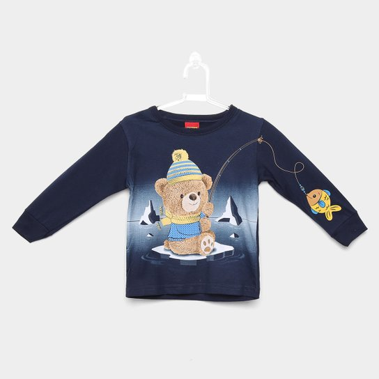 c066448637 Camiseta Manga Longa Infantil Kyly Ursinho Masculina - Marinho ...
