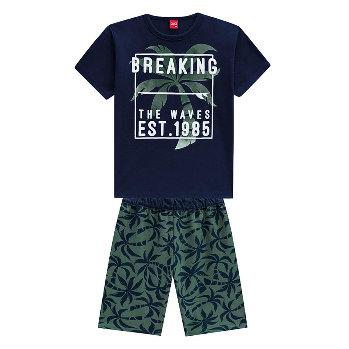 Conjunto Juvenil Kyly Camiseta + Bermuda Moletom Coqueiros Masculino
