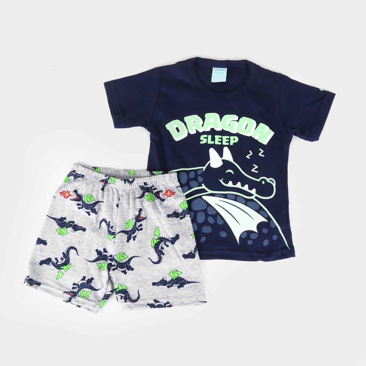 Pijama Infantil Kyly Dragon Brilha no Escuro Masculino