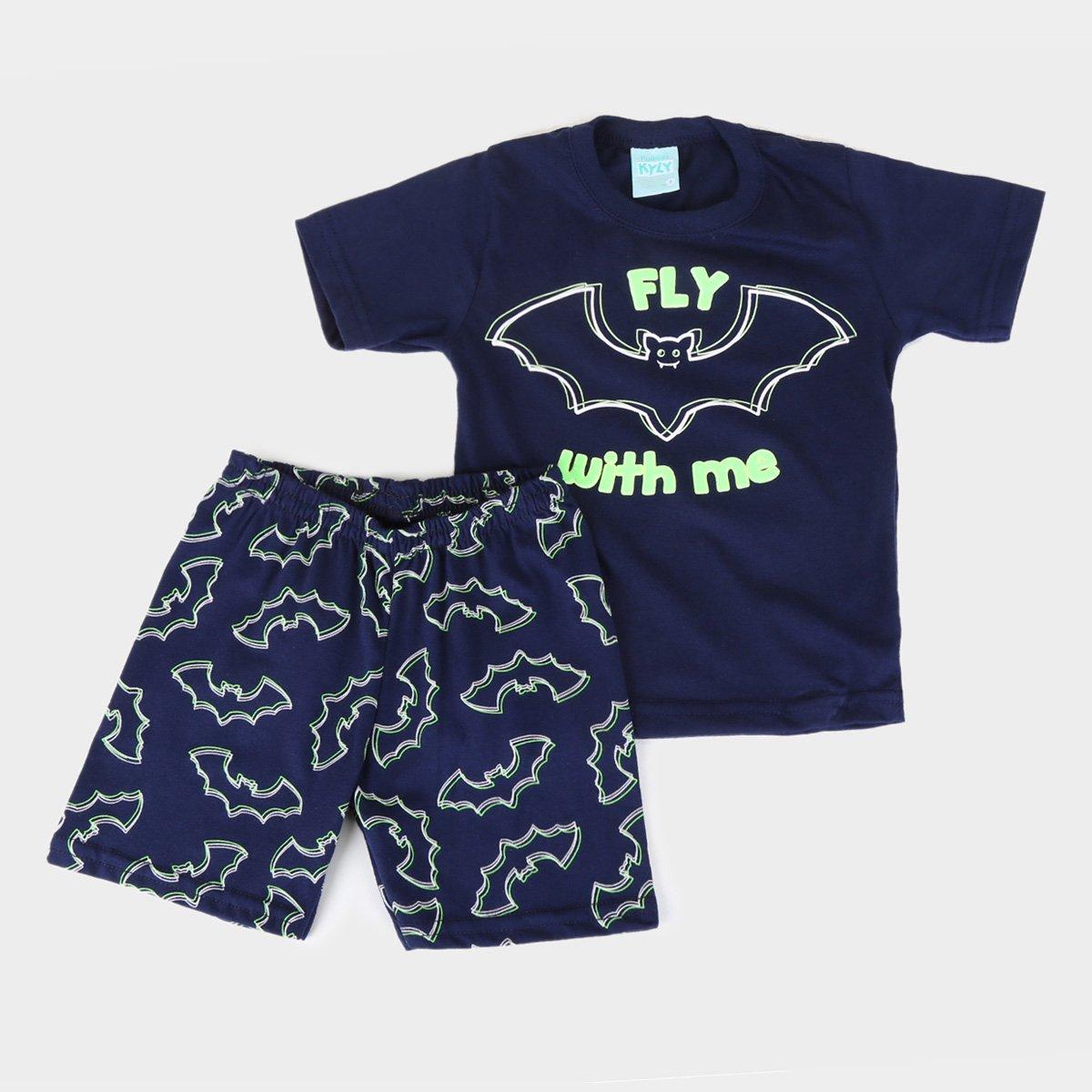 Pijama Infantil Kyly Morceguinhos Brilha no Escuro Masculino