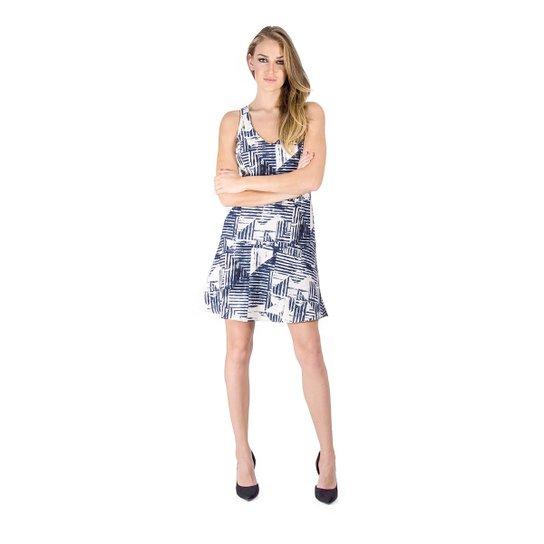 a1a7184e3 Vestido Evasê Estampado Lucidez - Marinho - Compre Agora
