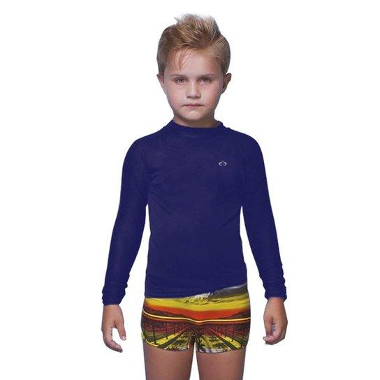 Camiseta Manga Longa Infantil Siri Com Proteção Solar Masculino - Marinho 93650b0c825