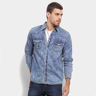 636fd087ee Camisa Jeans Gangster Estonada Masculina