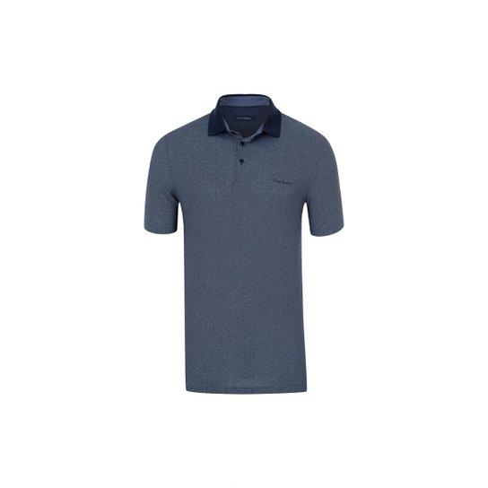 b4b499dd1d Camisa Polo Pierre Cardin Jacquard Masculina - Marinho - Compre ...