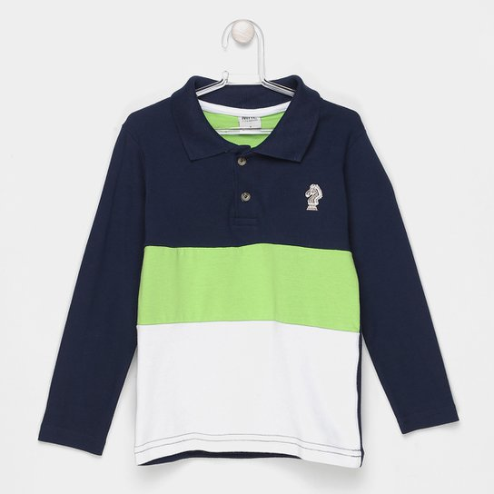 b1de799963 Camisa Polo Infantil Marlan Manga Longa Masculina - Marinho