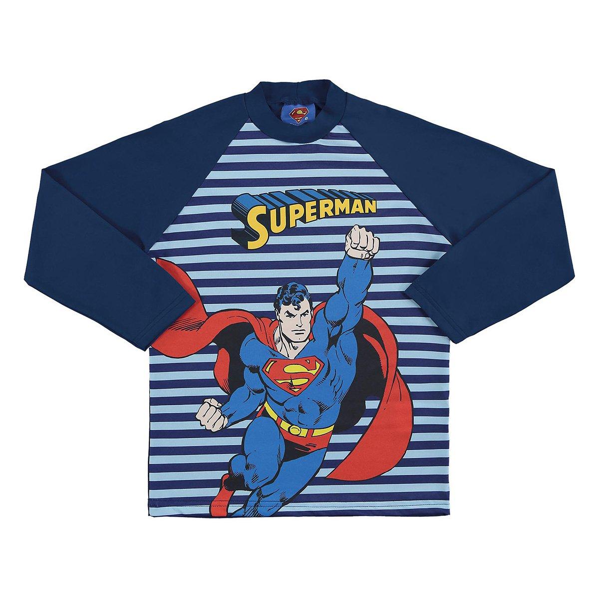 Camiseta Infantil Marlan Proteção UV Superman Manga Longa Masculina
