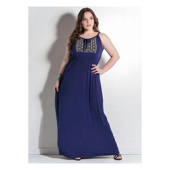 b294229963 Vestido Longo Marinho Detalhe Étnico Quintess Plus Size - Compre ...
