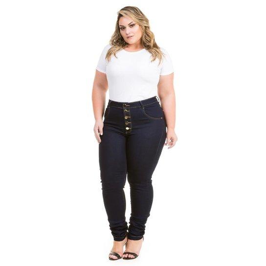 466d03186 Calça Confidencial Extra Plus Size Jeans Hot Pants com Botões Feminina -  Marinho