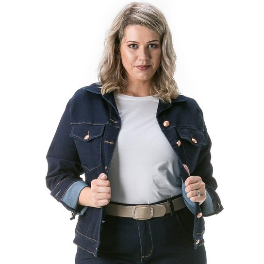 01f28f5c6 Jaqueta Jeans Confidencial Extra Plus Size Tradicional Feminina - Marinho