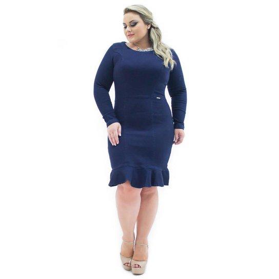 436c72a22d44 Vestido Midi Confidencial Extra Plus Size Jeans com Elastano e Babado  Feminino - Marinho