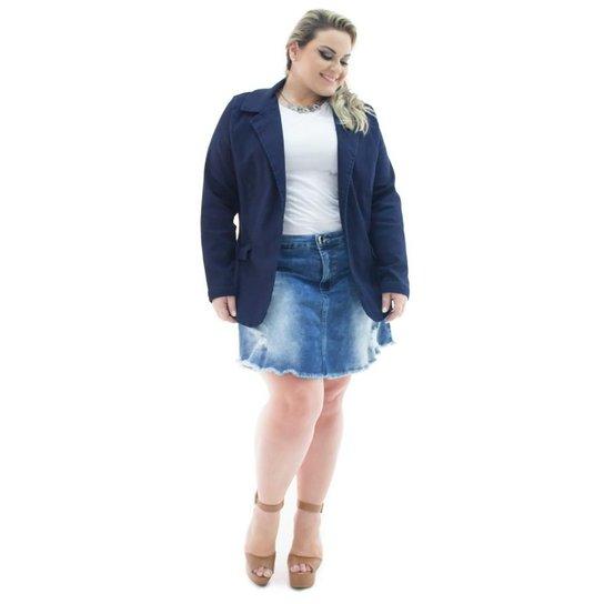 01c15804d8 Blazer Confidencial Extra Plus Size Jeans Alongado com Elastano Feminino -  Marinho
