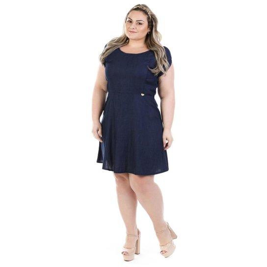 Vestido Jeans Confidencial Extra Evasê Plus Size Feminino - Marinho ... 39804833a1624