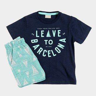 81c612f490 Conjunto Infantil Milon Camiseta e Bermuda Moletom Masculina
