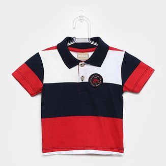 41e0428fd Camisa Polo Infantil Milon Estampa Listrada Masculina