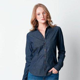 fc668841e5 Camisa Hiatto Jeans Básica Bright Gray Feminina