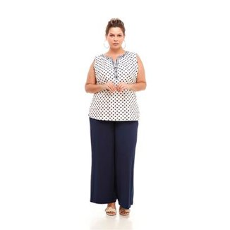 53e687f953 Regata Melinde Plus Size Poá Linho Feminina