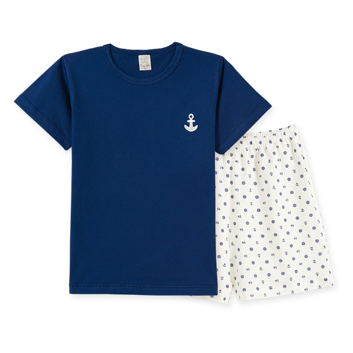 Pijama Infantil Pingo Lelê Camiseta Âncora + Bermuda Masculino