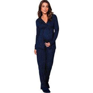 bbf481ab4 Pijama de Inverno Gestante Amamentação Luna Cuore