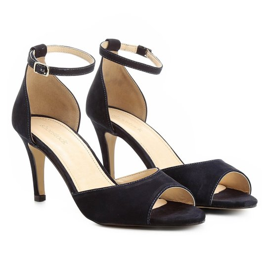 68b1e2294e Sandália Couro Shoestock Salto Fino Naked Tornozeleira Feminina - Marinho
