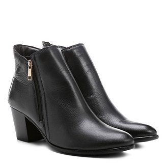 9481b2fa3 Bota Couro Cano Curto Shoestock Zíper Feminina