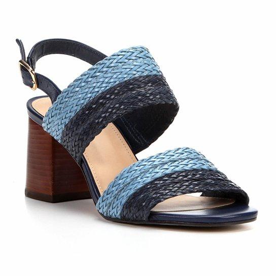 a88f0d1b26 Sandália Shoestock Salto Grosso Mix Tressê Feminina - Marinho ...