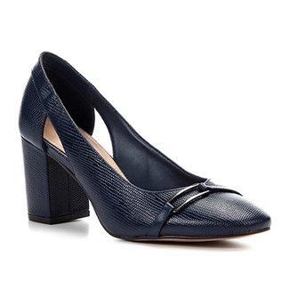 4a0c0a528e Scarpin Shoestock Salto Bloco Lezard Metal