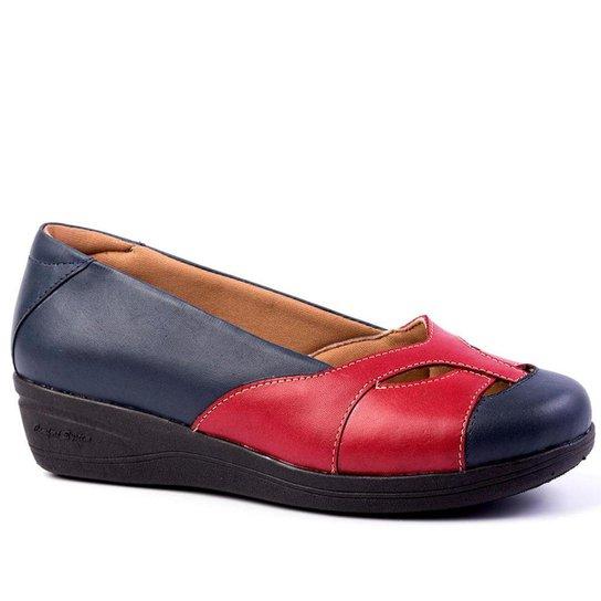 bf29bbecf Sapato Feminino Anabela 194 em Couro Metalizado Doctor Shoes - Marinho