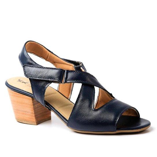 4ae941b5f5 Sandália Couro 284 Doctor Shoes Salto Grosso Feminina - Marinho ...