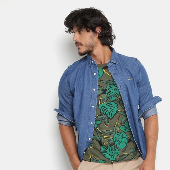 d77aadff19f Camisa Jeans Lacoste Live Fit Masculina - Compre Agora