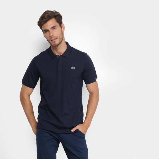 49ddb8e068 Camisa Polo Lacoste Live Malha Textura Masculina - Marinho