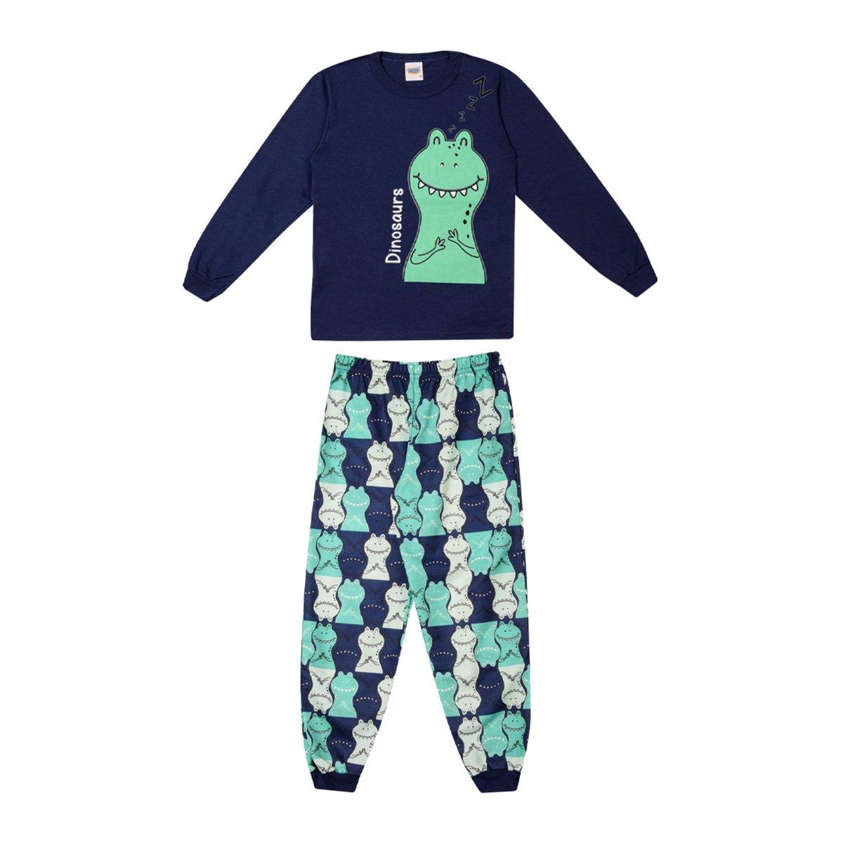 Pijama Longo Infantil Duzizo Estampado Brilha No Escuro