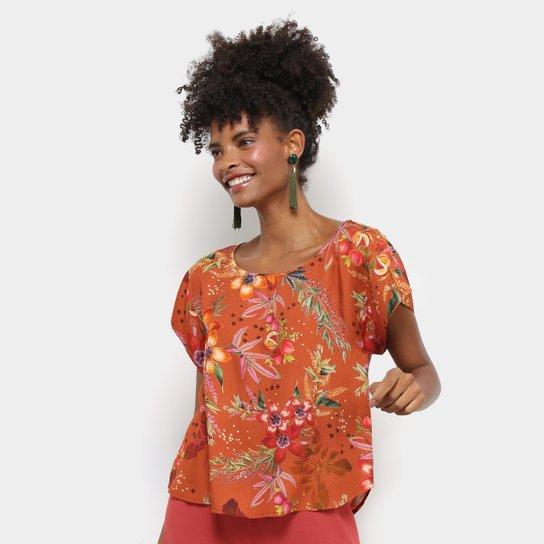 a471b8ac70 Blusa Cantão Cropped Estampa Floral Feminina - Laranja - Compre ...