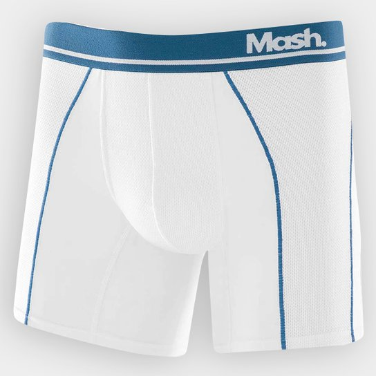 b89c4291591 Cueca Boxer Mash Microfibra - Branco+Azul Petróleo
