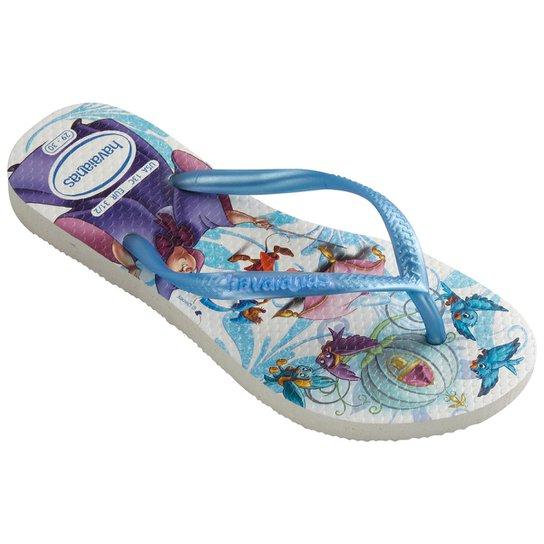 25aa1d9c6 Chinelo Infantil Havaianas Slim Disney Princesas - Branco+Azul Claro