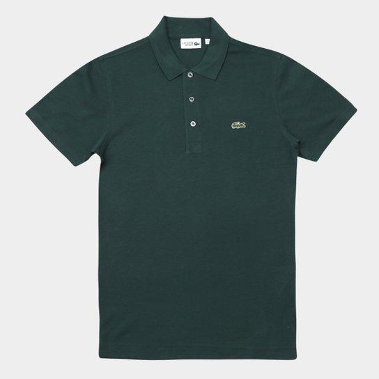 Camisa Polo Lacoste Super Light Masculina - Verde escuro e Branco ... dca0b88a54