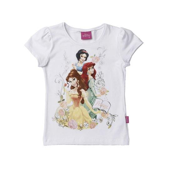 0f58404ef Blusa Manga Curta Infantil Para Menina Disney Princess Branco - Branco