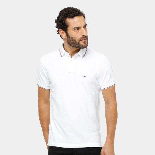 5d44af99d1d24 ... Camisa Polo Tommy Hilfiger Piquet Regular Fit Frisos Masculina - Branco  b41bc81f6d87e7 ...