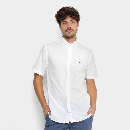 5b995ab05e Camisa Manga Curta Tommy Hilfiger Fio A Fio Regular Fit Masculina - Branco