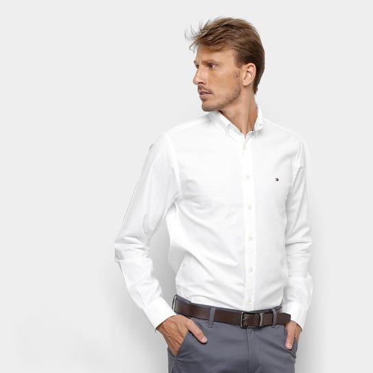 9d9cd3f1c0af Camisa Tommy Hilfiger Manga Longa Basic Light Oxford Masculina - Branco