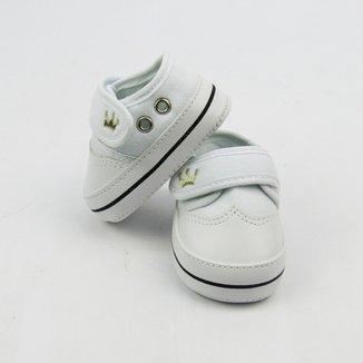 009a3bd8226 Tênis Bebê Masculino Branco Bordado Coroa com Velcro -G
