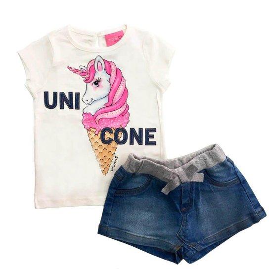 8e0a9ca913 Conjunto Infantil Momi Saia Shorts Unicórnio Feminino - Branco ...