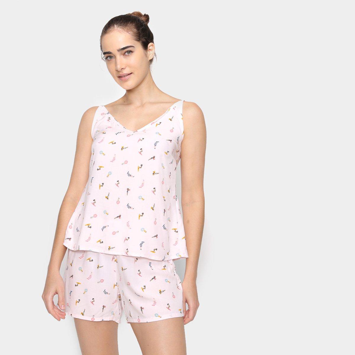 Pijama Curto Hering Morangos Feminino