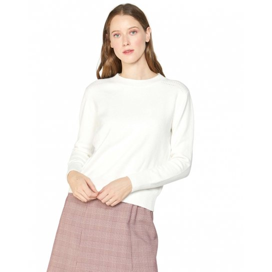 Suéter Amaro Básico Gola Redonda Feminino - Branco - Compre Agora ... 13376d515fa